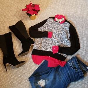 Black GAP sweater, pairs well for Christmas